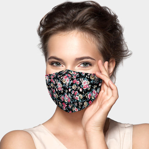 Inga Black Floral Bouquet Fashion Mask