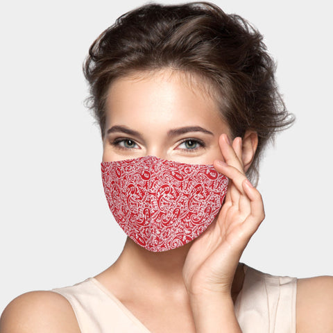 Inga Red and White Paisley Fashion Mask