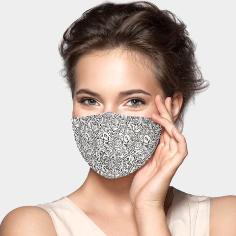 Inga Black and White Paisley Fashion Mask
