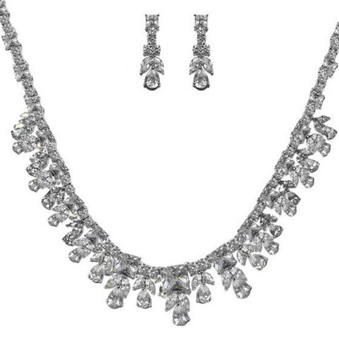 Ingrid CZ Royal Cluster Necklace Set