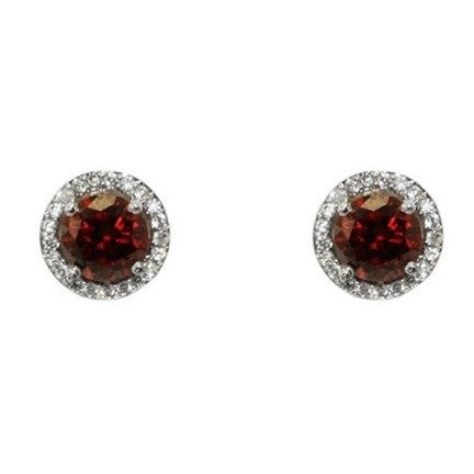 Isla Ruby Round Halo CZ Stud Earrings - 10mm | 1.2ct - Beloved Sparkles