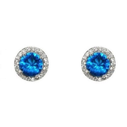 Isla Sapphire Round Halo CZ Stud Earrings – 10mm | 1.2ct