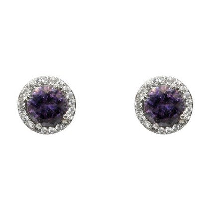 Isla Amethyst Round Halo CZ Stud Earrings - 10mm | 1.2ct