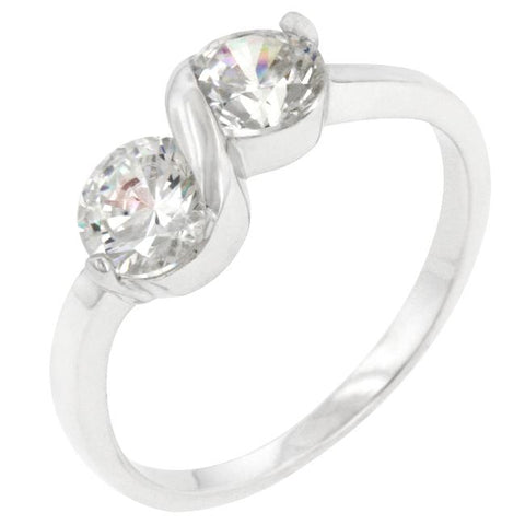 Isoka Two Stone  Fashion Ring | 1ct | Cubic Zirconia | Sterling Silver