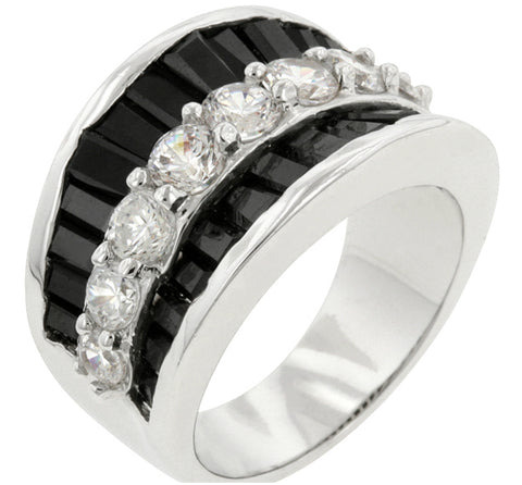 Itza Jet Black and Clear CZ Band Ring | 7.8ct | Cubic Zirconia