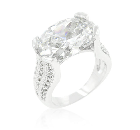 Ivanna Oval Cut Engagement Statement Ring  | 28 Carat | Cubic Zirconia - Beloved Sparkles  - 1
