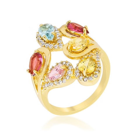 Izebe Multi Color Cluster Gold Cocktail Ring  | 5 Carat | 18k Gold | Cubic Zirconia - Beloved Sparkles  - 1