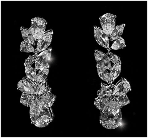 Jacquine Cluster Linear Chandelier Earrings | 8ct | Cubic Zirconia | Silver - Beloved Sparkles