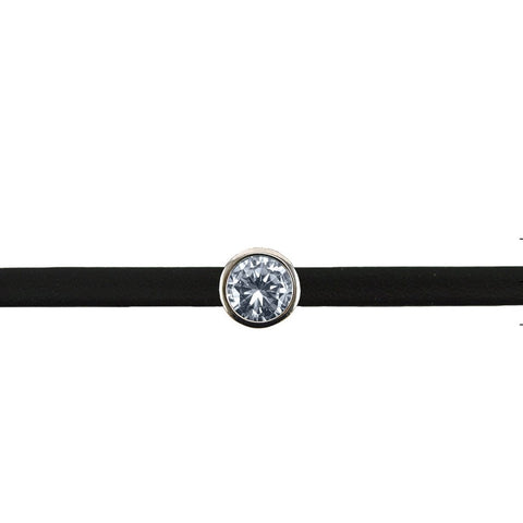 Jariya CZ Bezel Black Leather Choker
