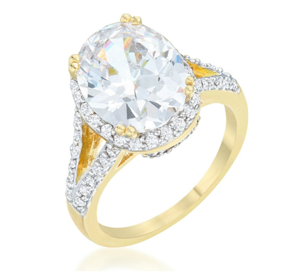 Jasmine Two Tone Oval Solitaire Engagement Ring 6ct