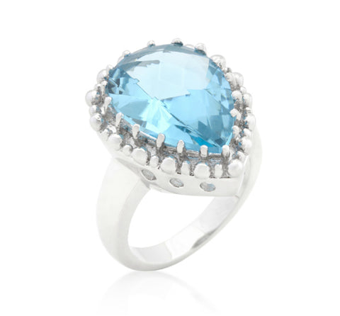 Jasna Solitaire Blue Topaz Cocktail Ring | 8ct | Cubic Zirconia - Beloved Sparkles  - 1