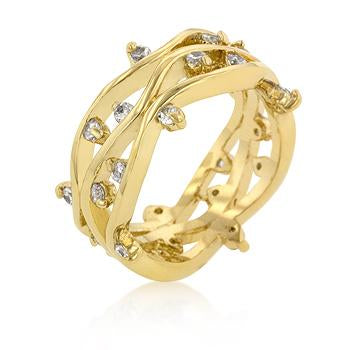 Jaspreet Golden Vine Wide Band Ring | 0.8ct | Cubic Zirconia | 18k Gold
