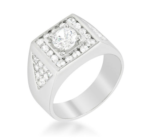 Jenkins Brilliant Statement Men Ring | 2.5ct | Cubic Zirconia | Silver