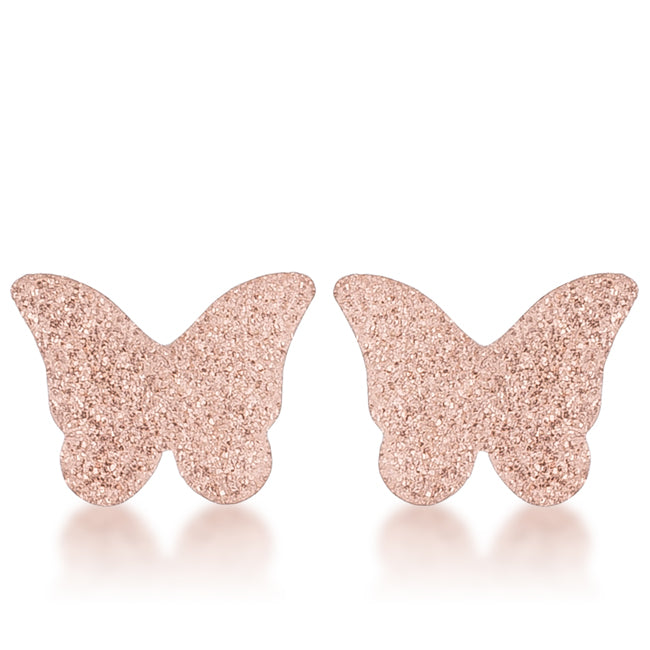 Jess Glitter Butterfly Rose Gold Stud Earrings | Rose Gold | Stainless Steel