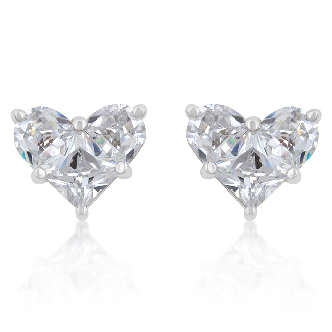Jobina CZ Heart Stud Earrings