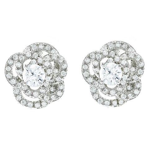 Jodase CZ Flower Stud Earrings