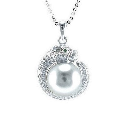 Jozoe Pearl CZ Panther Pendant