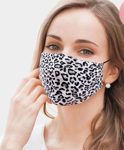 Jolie Grey Leopard Fashion Mask