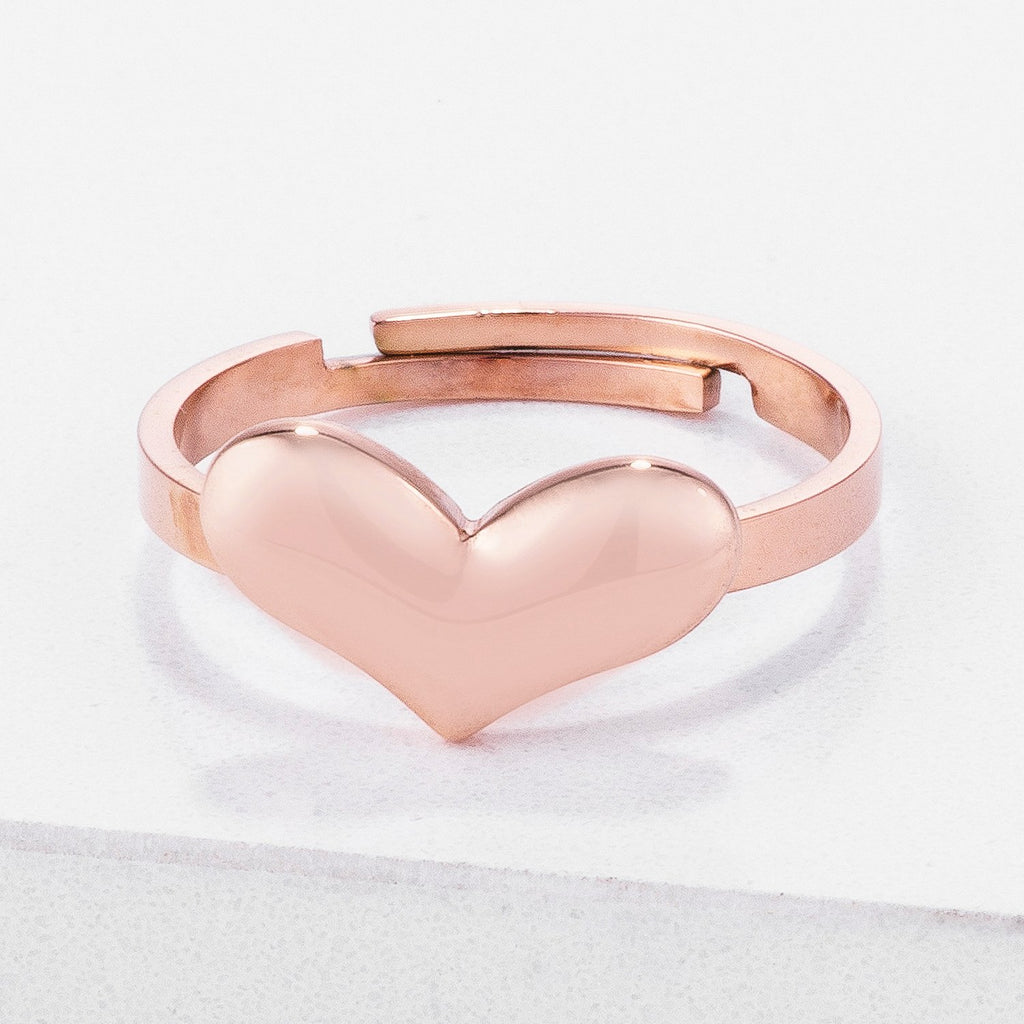 Jorie Stainless Steel Adjustable Rose Gold Heart Ring