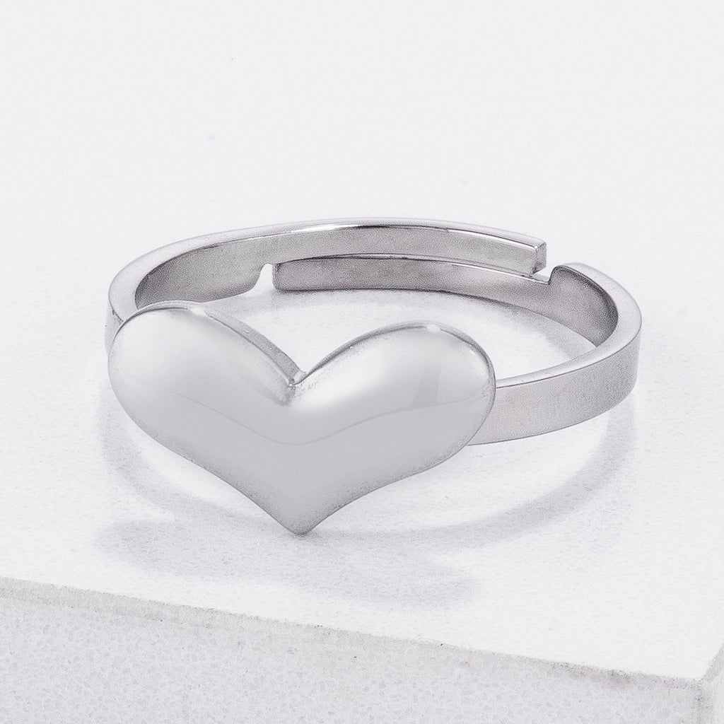 Jorie Stainless Steel Adjustable Silver Heart Ring