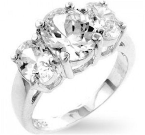 Jucinda Three Stone Oval Engagement Ring | 4ct | Cubic Zirconia | Sterling Silver - Beloved Sparkles  - 5