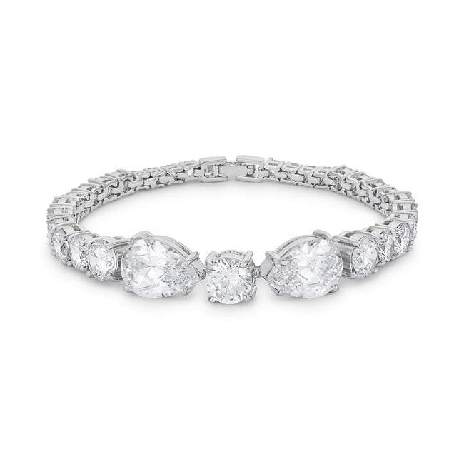 Jueta Elegant Pear CZ Statement Bracelet - 7.5in