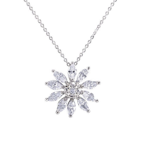 Julta CZ Flower Silver Pendant Necklace