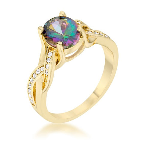 Justine 1.8ct Mystic Oval CZ Cocktail Ring | 2.5ct | 14k Gold