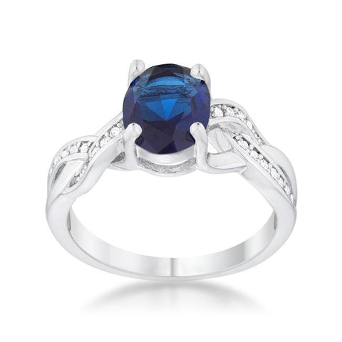 Justine Sapphire CZ Rhodium Classic Oval Ring | 2.5ct | Cubic Zirconia | Silver
