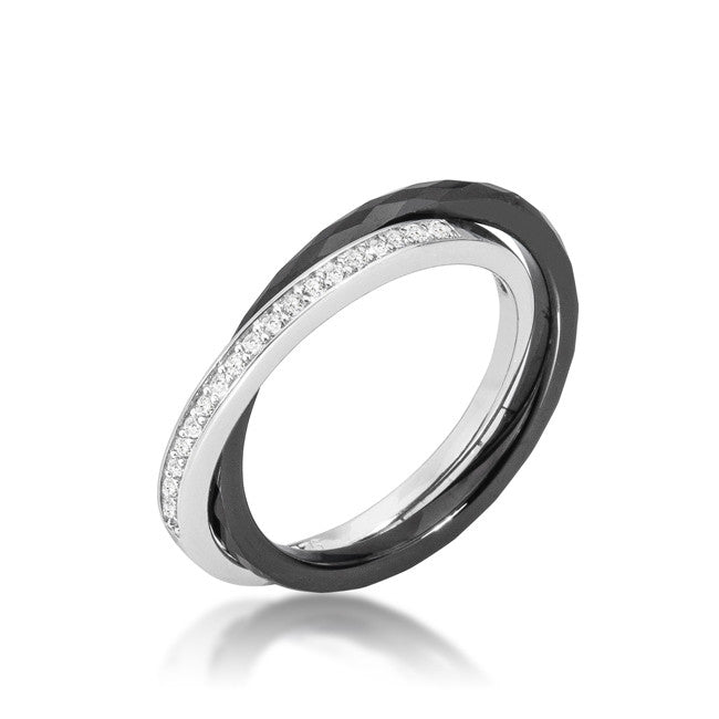 Karri Double Band Black Ceramic Ring | 0.2 Carat | Cubic Zirconia  | Sterling Silver - Beloved Sparkles  - 1