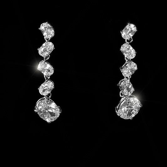 Karina Cascade Oval Drop Dangle Earrings | 4ct