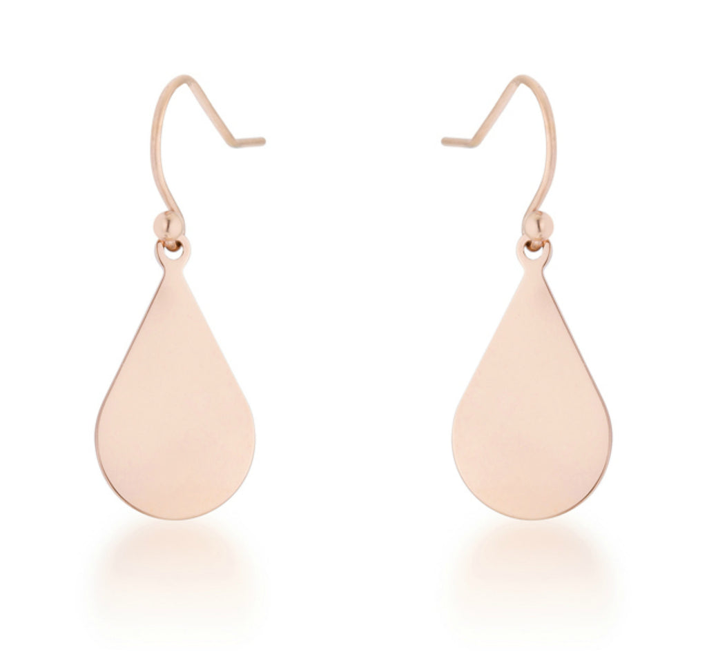 Karla Teardrop Drop Earrings | Stainless Steel | Rose Gold