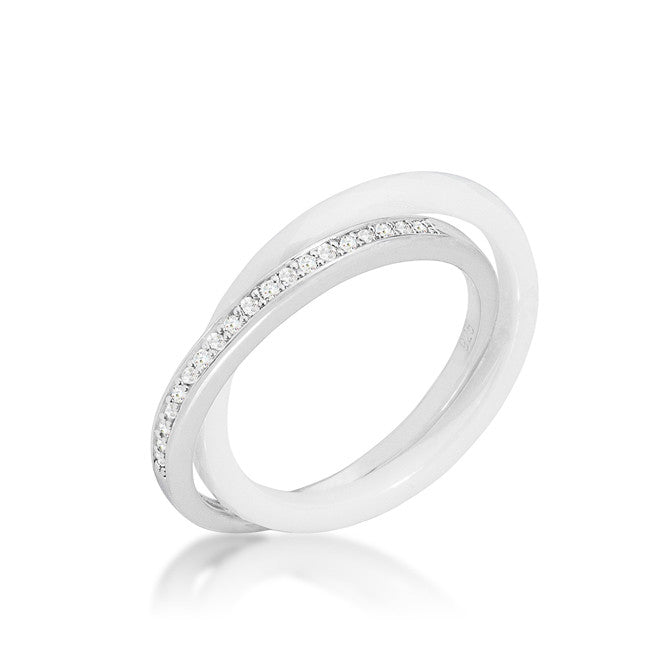 Karri Double Band White Ceramic Ring | 0.2 Carat | Cubic Zirconia | Sterling Silver - Beloved Sparkles  - 1