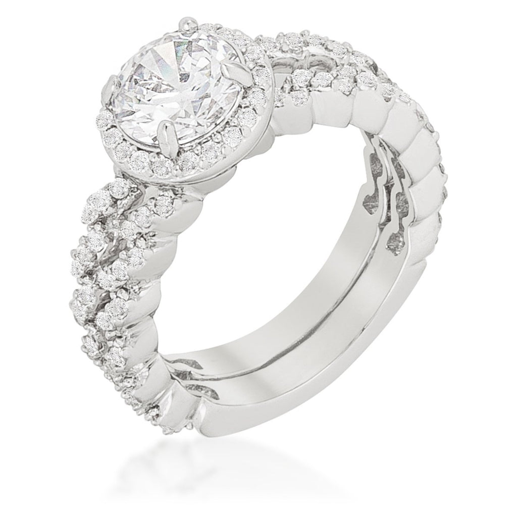 Kassidy Zig Zag 1.2ct Round Engagement Wedding Ring Set | 3.5ct