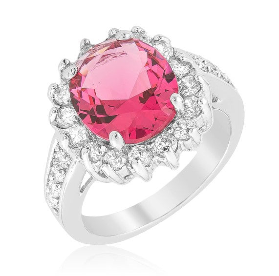 Kate Ruby Red Cambridge Oval Cut Halo Engagement Cocktail 7 Carat Cubic Zirconia Ring. - Beloved Sparkles  - 1