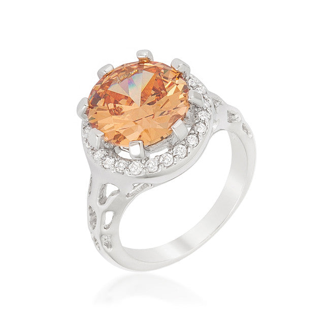 Kavita Round Champagne Halo Cocktail Ring  | 5 Carat | Cubic Zirconia - Beloved Sparkles  - 1