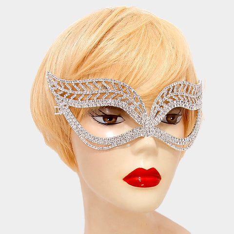 Kayley Leaf Statement Masquerade Mask | Crystal | Silver