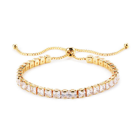 Keeley 4mm Princess CZ Gold Tennis Bolo Bracelet