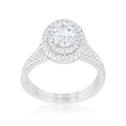 Kehira 1ct Oval Halo Engagement Ring Set | 2.3ct