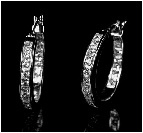 Keita Princess Cut Inside Out Hoop Earrings | 4ct | Cubic Zirconia | Silver