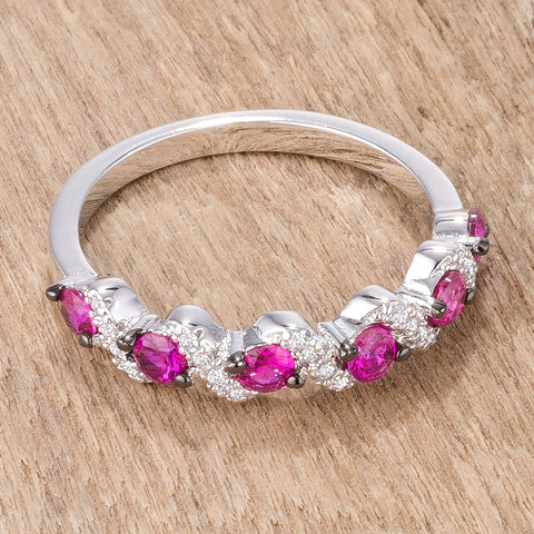 Kerra S Shape Fuchsia and Clear CZ Cocktail Ring | 2ct
