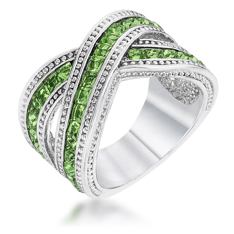 Kerstin Criss Cross Peridot Green Wide Band Ring | 4ct