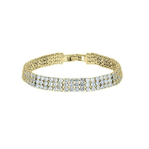 Kim 3 Row Round CZ Gold Tennis Bracelet | 20ct