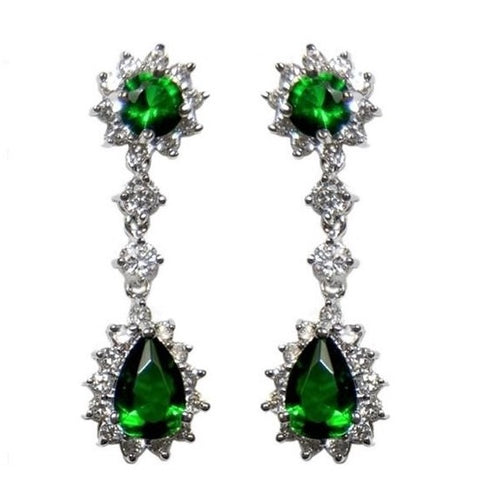 Kimmy Emerald Green Drop Chandelier Earrings | 6ct