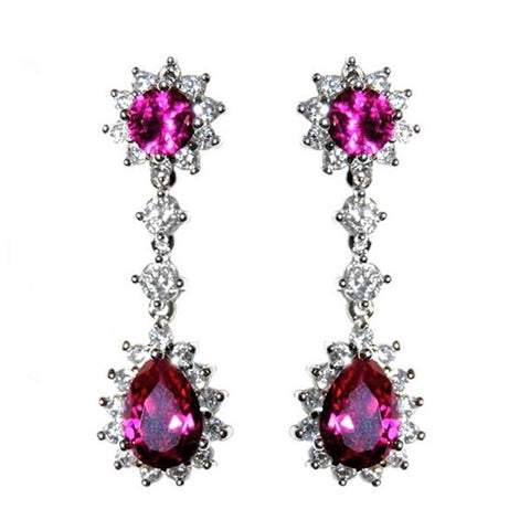 Kimmy Fuchsia Pink Drop Chandelier Earrings | 6ct