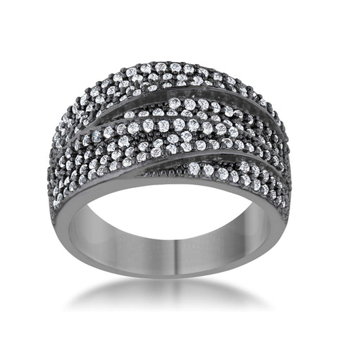 Kina Hematite Contemporary Cocktail Ring | 2.5ct | Cubic Zirconia - Beloved Sparkles  - 2