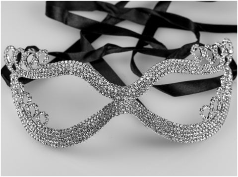 Kinza Crystal Loops Silver Masquerade Mask | Silver | Crystal - Beloved Sparkles  - 1
