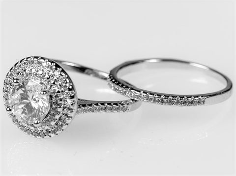 Kleta 2(ct) Round Double Halo Engagement Ring Set | 4ct