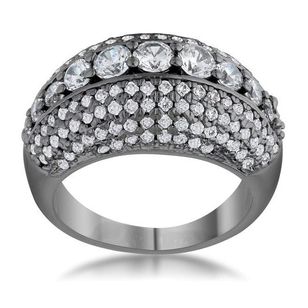 Krista Hematite Contemporary Cocktail Ring | 5ct | Cubic Zirconia - Beloved Sparkles  - 1