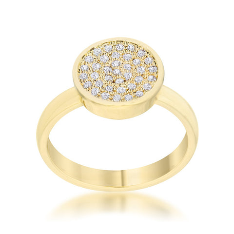 Krystal 14k Gold Pave Circle Cluster  Fashion Cocktail Ring | .8 Carat |Cubic Zirconia - Beloved Sparkles  - 1